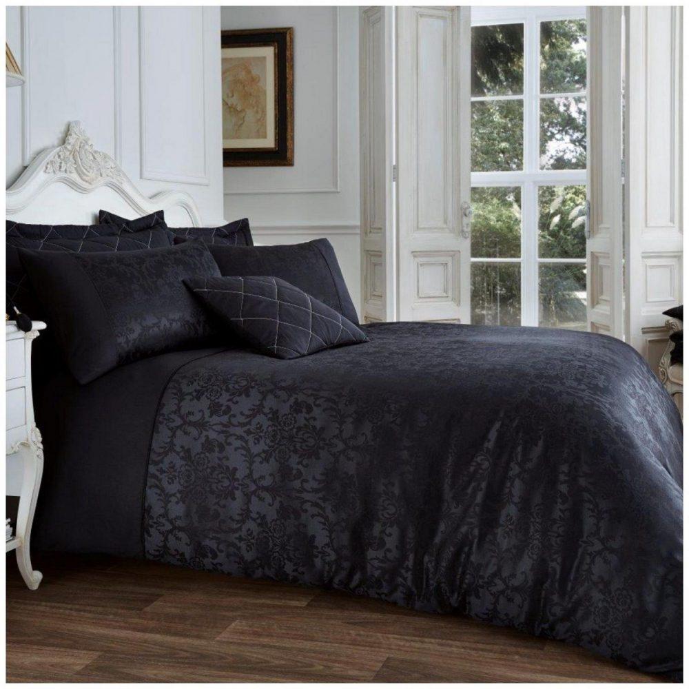 11111177 vincenza jacquard duvet set double black 1 1