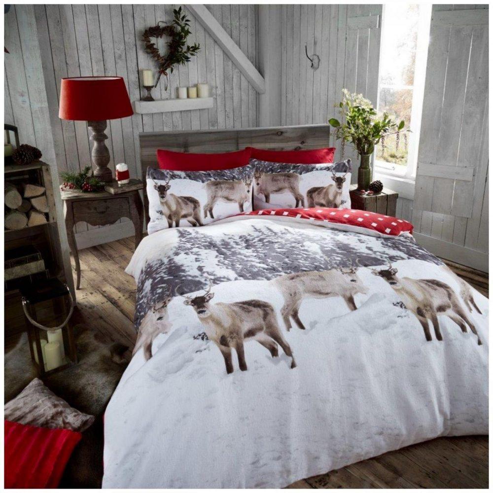 11115427 flannel printed duvet set snow reindeer single grey 1 2
