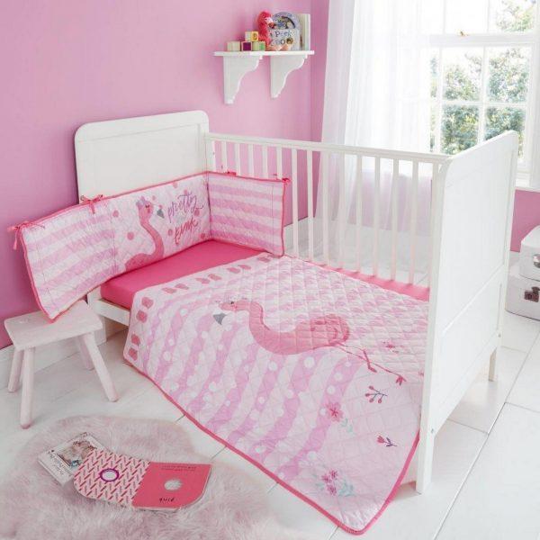 11119920 cot bumper set flona flamingo 1 2