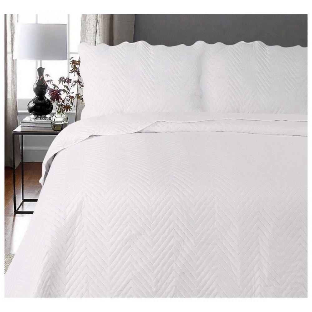 11120253 3pc plain bed spread arcade double cream 1 2