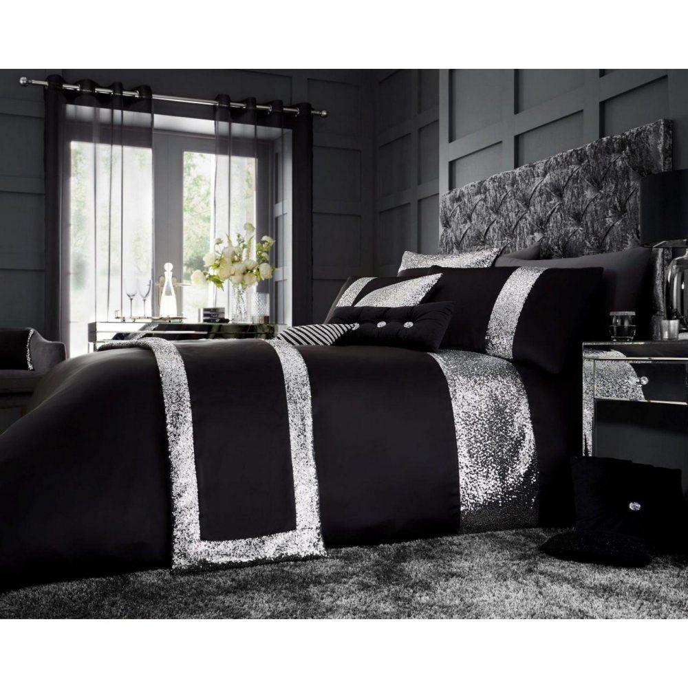 11120810 glamorous duvet set double black 1 2