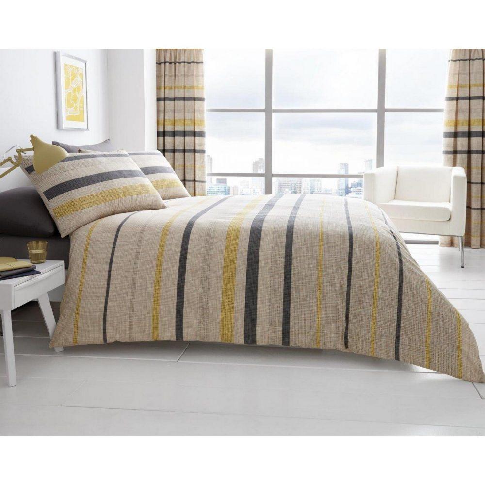 11121275 printed duvet set block stripe double beige 1 1
