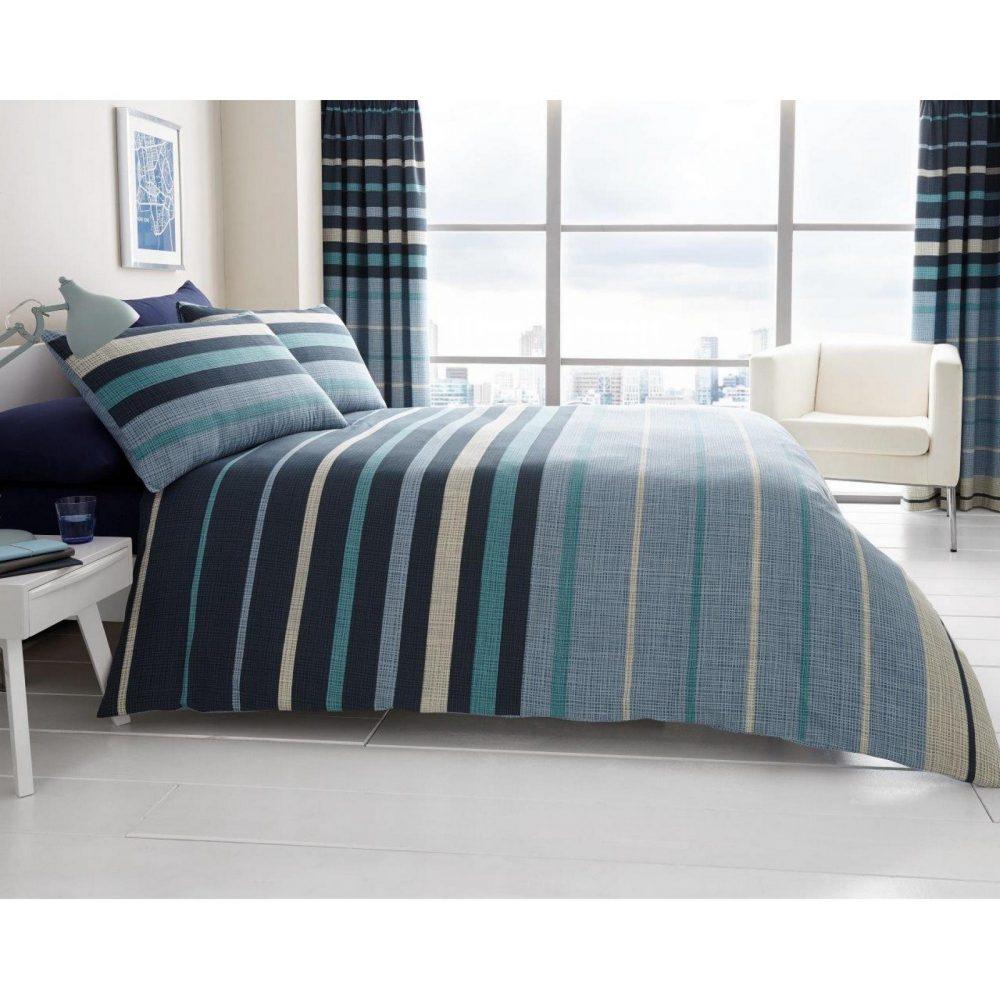 11121350 printed duvet set block stripe double blue 1 2