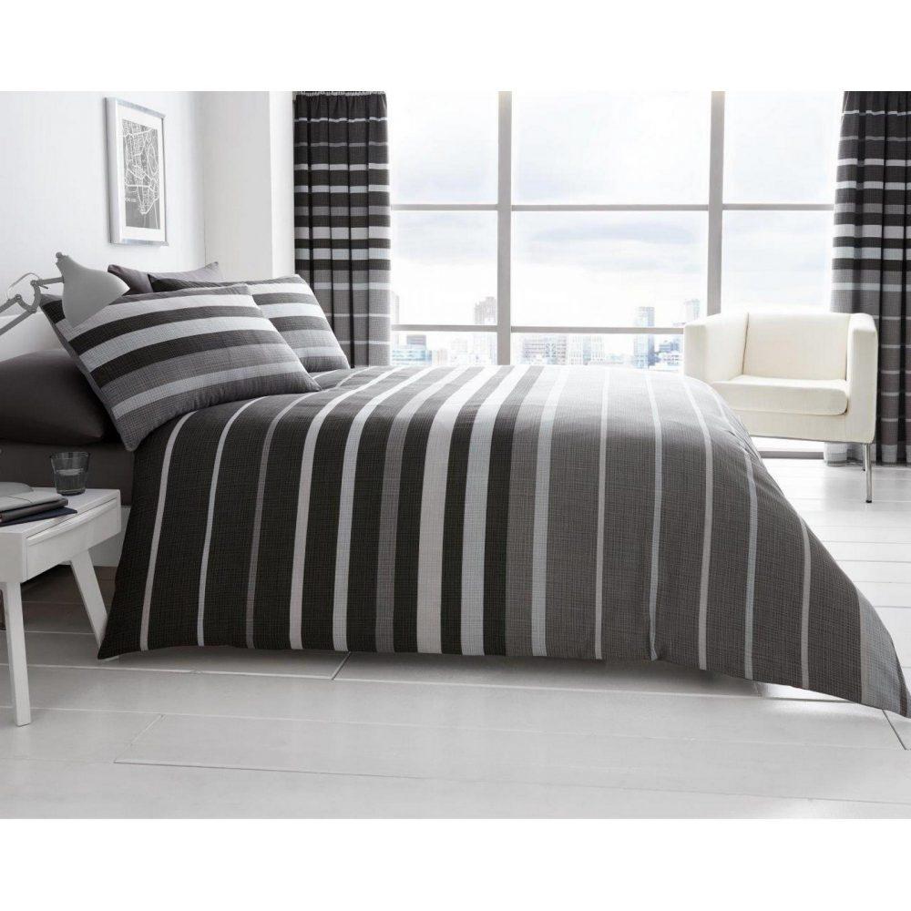 11121435 printed duvet set block stripe double grey 1 1