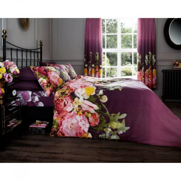 11128106 printed duvet set fadded floral double aubergine 1 2