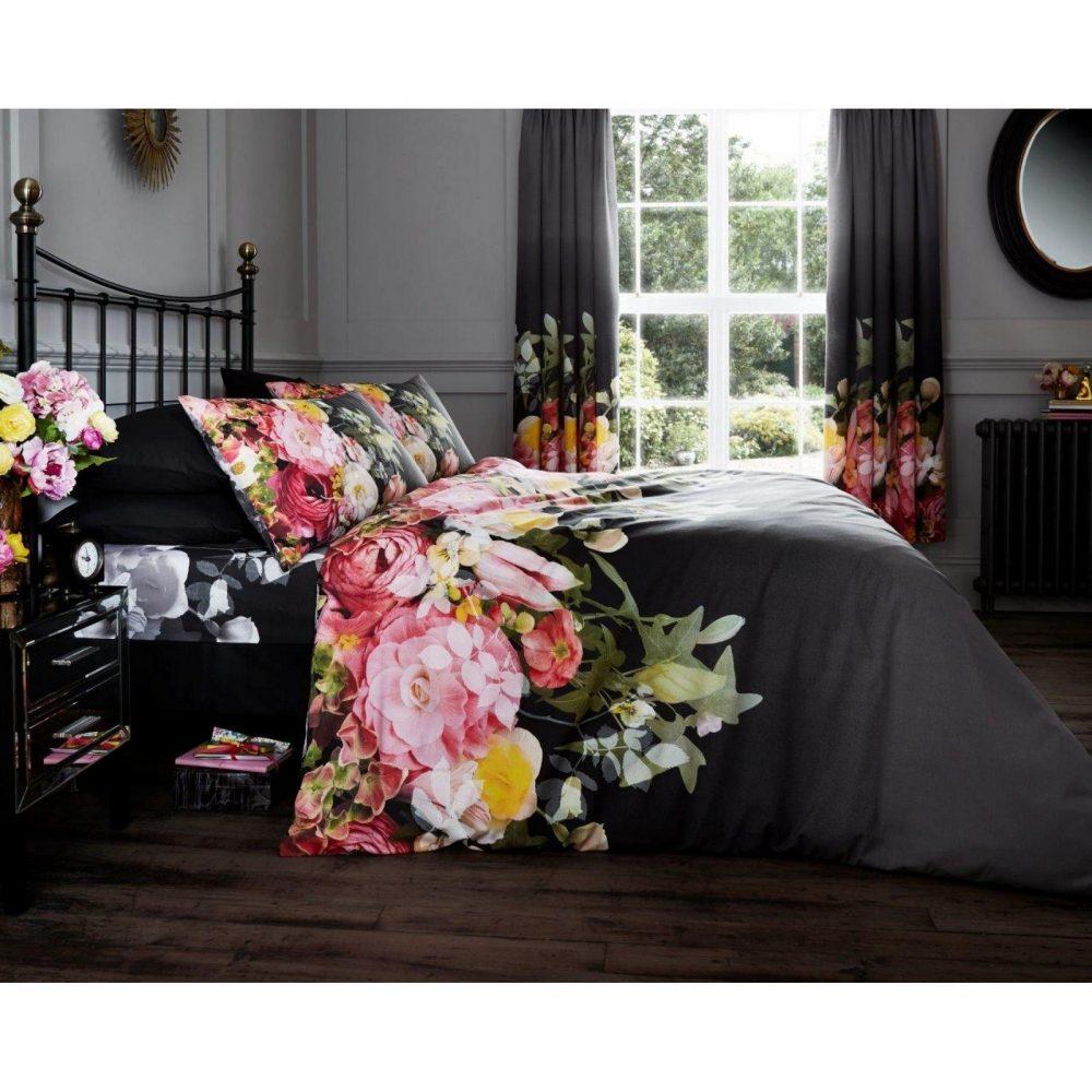 11128151 printed duvet set fadded floral double black 1 1