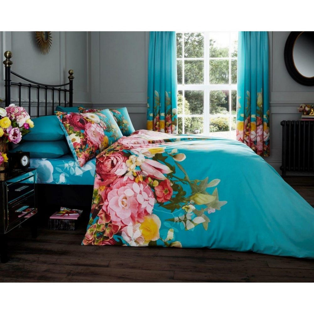 11128205 printed duvet set fadded floral double turquoise 1 1