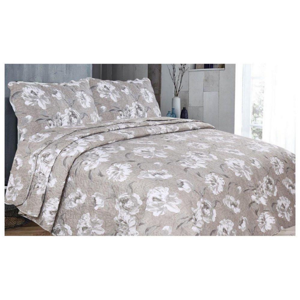 11129974 3pc printed bed spread amime double natural 1 2