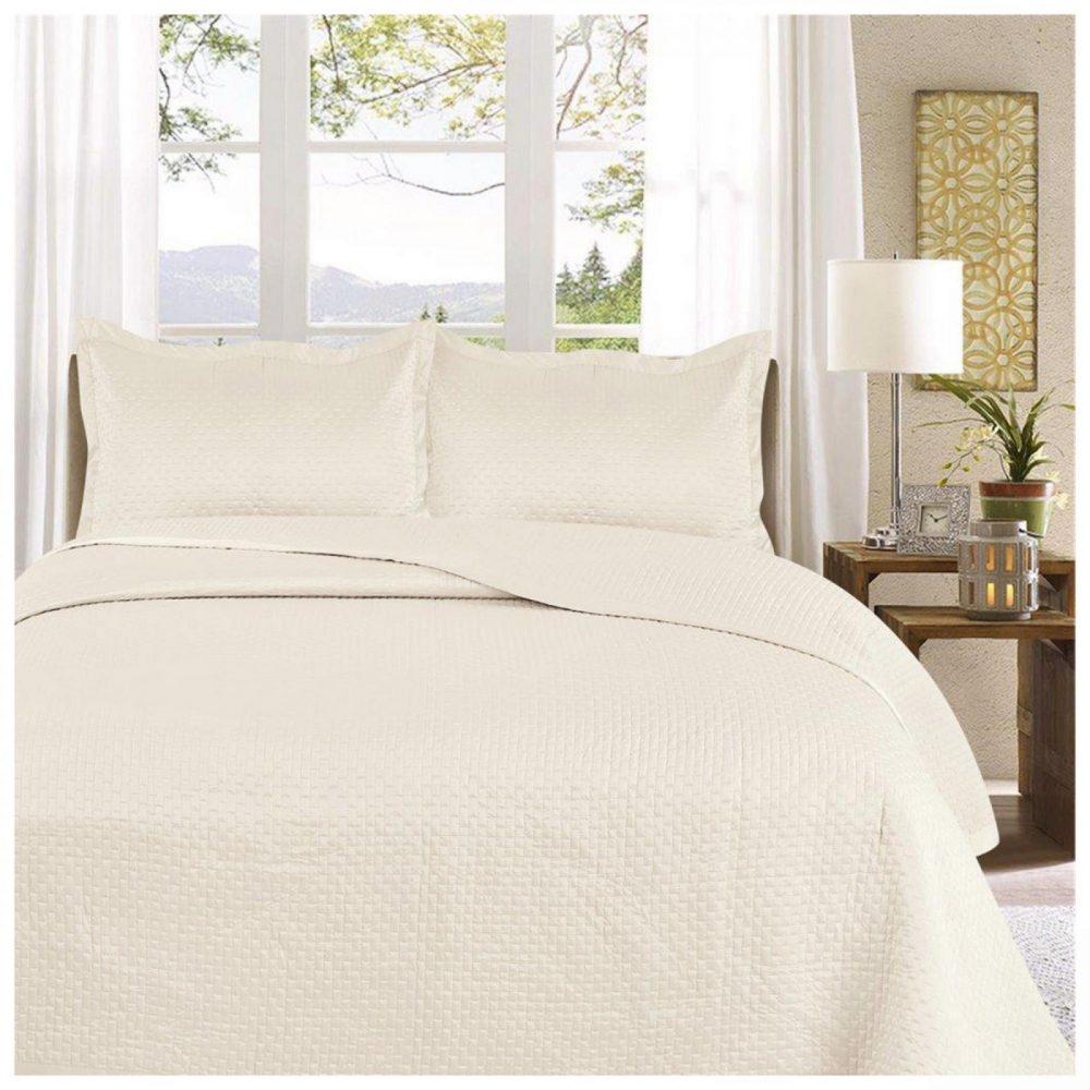 11130093 3pc plain bed spread samphire double cream 1 3