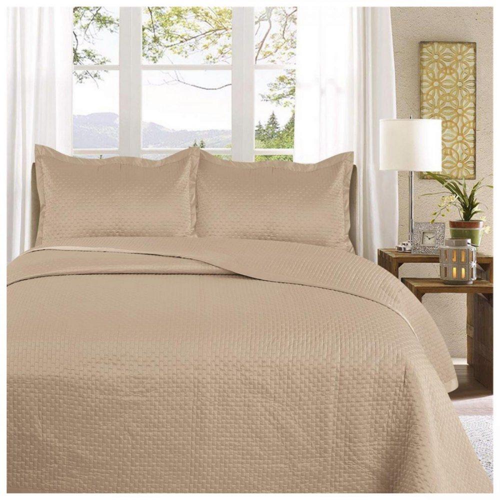 11130116 3pc plain bed spread samphire double gold 1 3