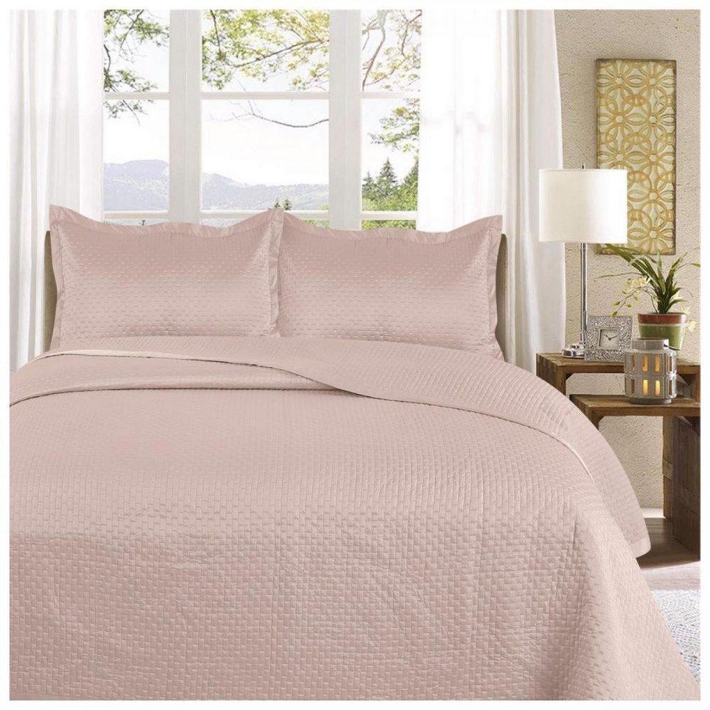 11130130 3pc plain bed spread samphire double chambray 1 3