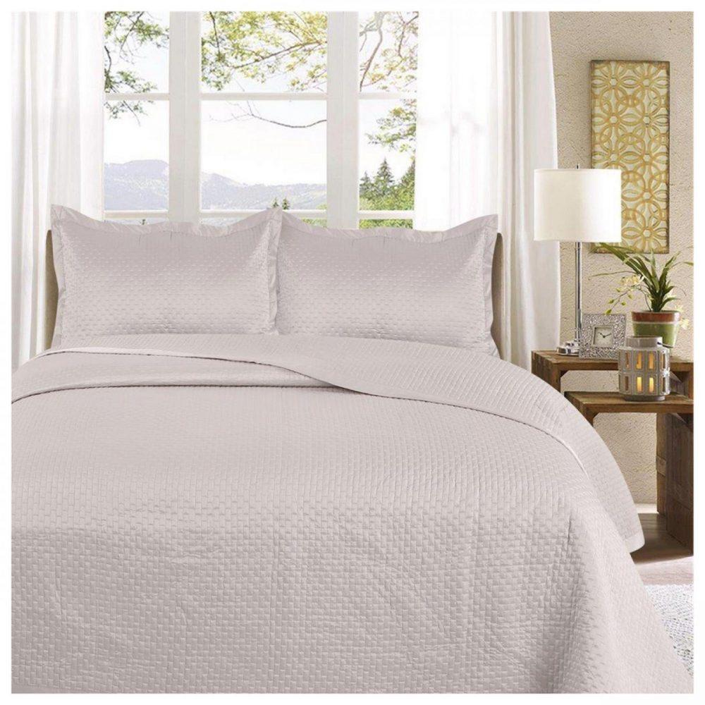 11130154 3pc plain bed spread samphire double silver 1 3