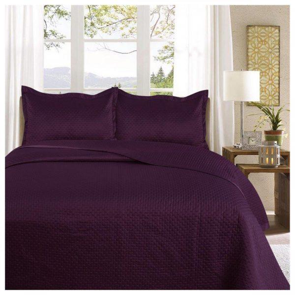 11130192 3pc plain bed spread samphire double aubergine 1 2