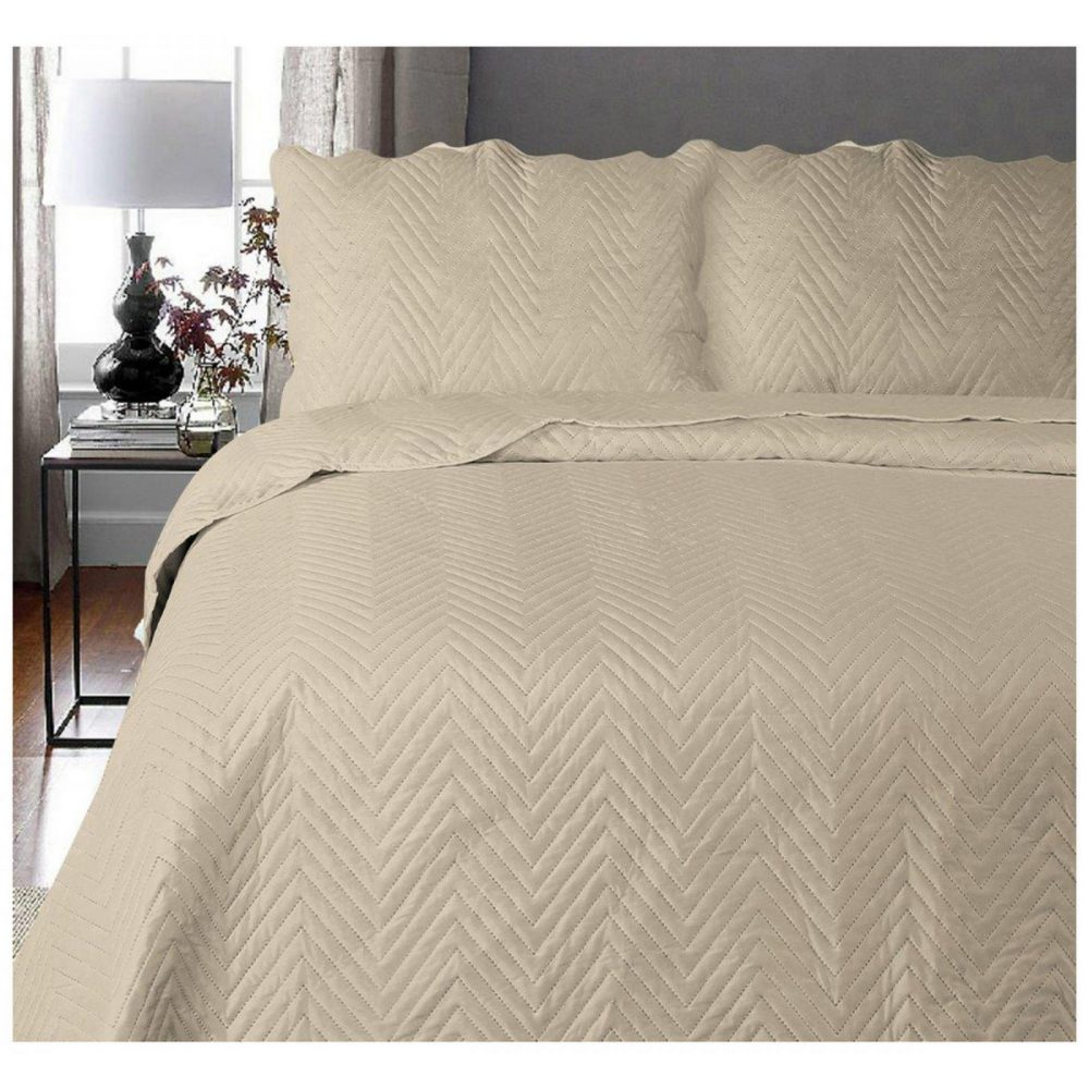 11130277 3pc plain bed spread arcade double natural 1 3