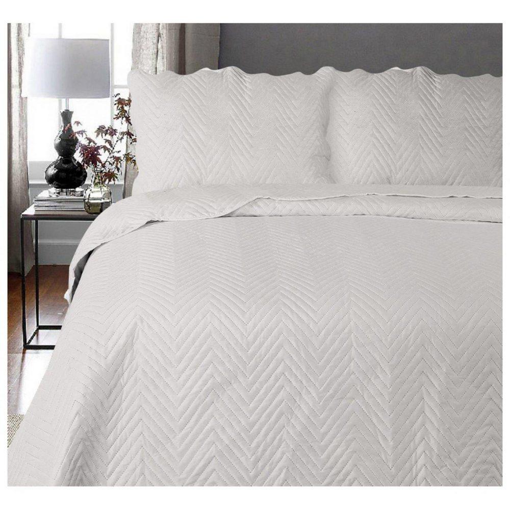11130314 3pc plain bed spread arcade double silver 1 3