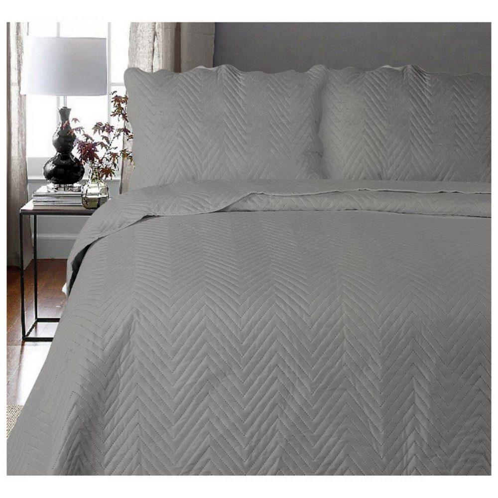 11130338 3pc plain bed spread arcade double grey 1 3