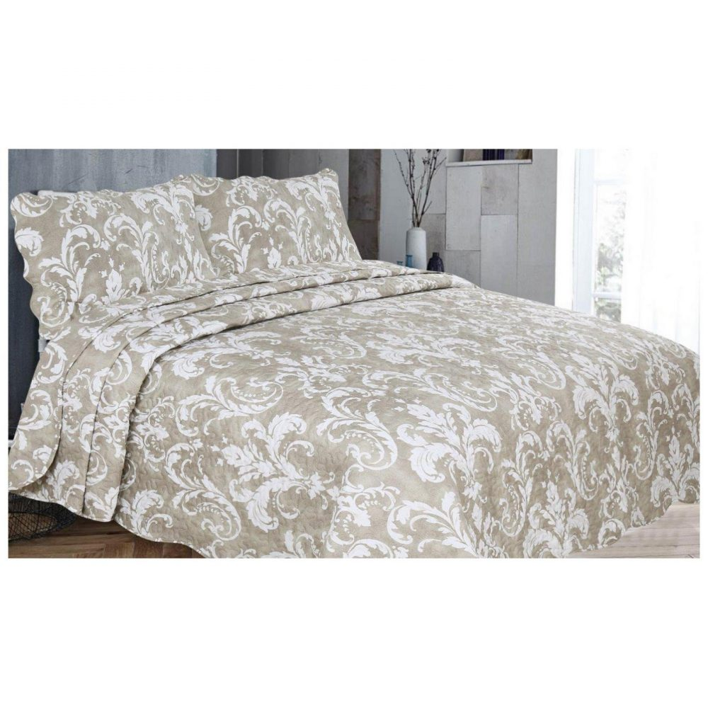 11130390 3pc printed bed spread enigma double natural 1 2