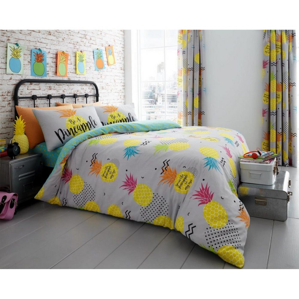 11131489 printed duvet set pineapple double grey 1 2