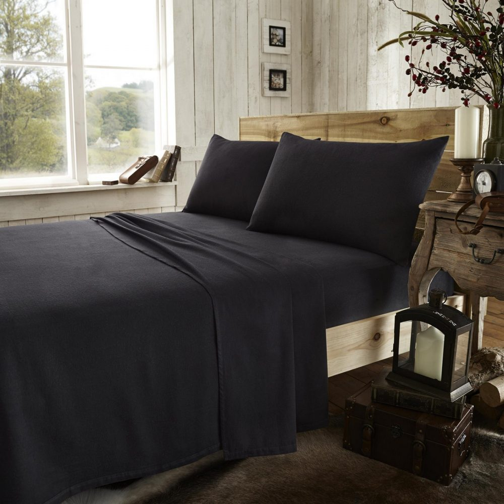 11133360 flannel plain fitted sheet double black new 1 2