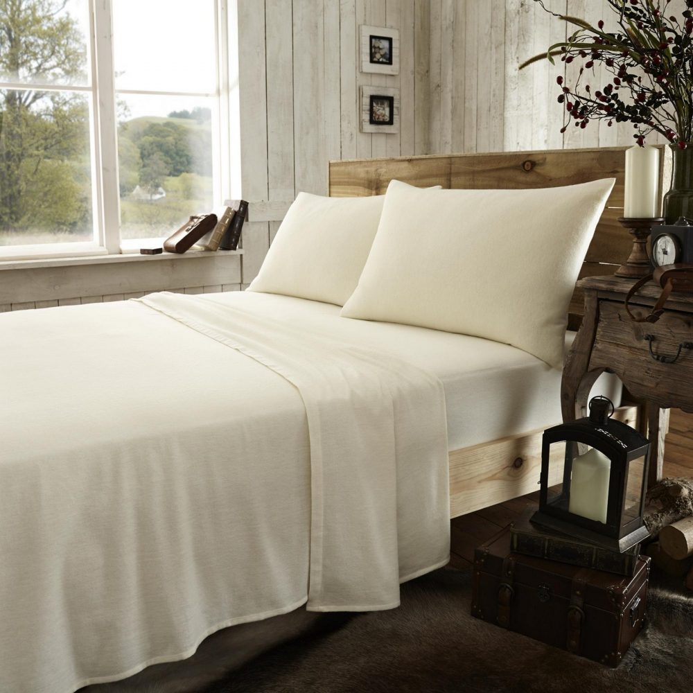 11133384 flannel plain fitted sheet double cream new 1 2