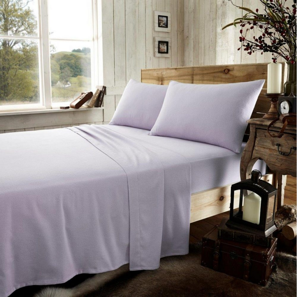 11133391 flannel plain fitted sheet double purple new 1 2