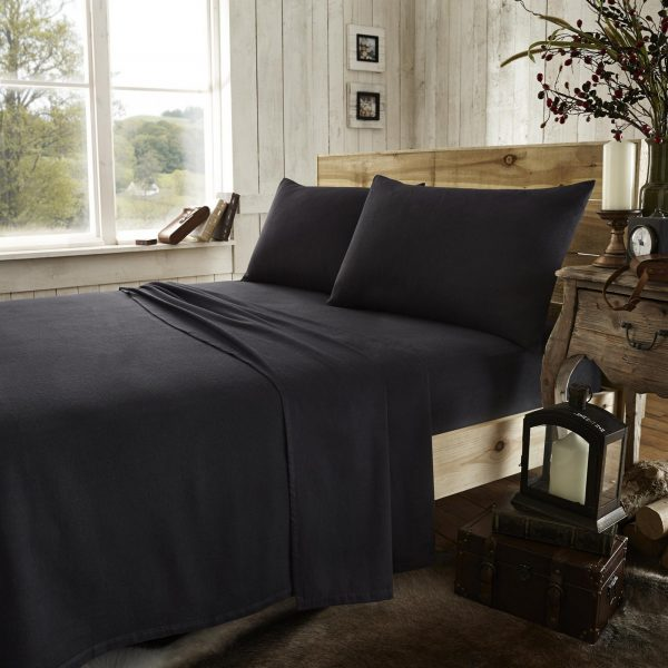 11133681 flannel plain flat sheet double black new 1 2