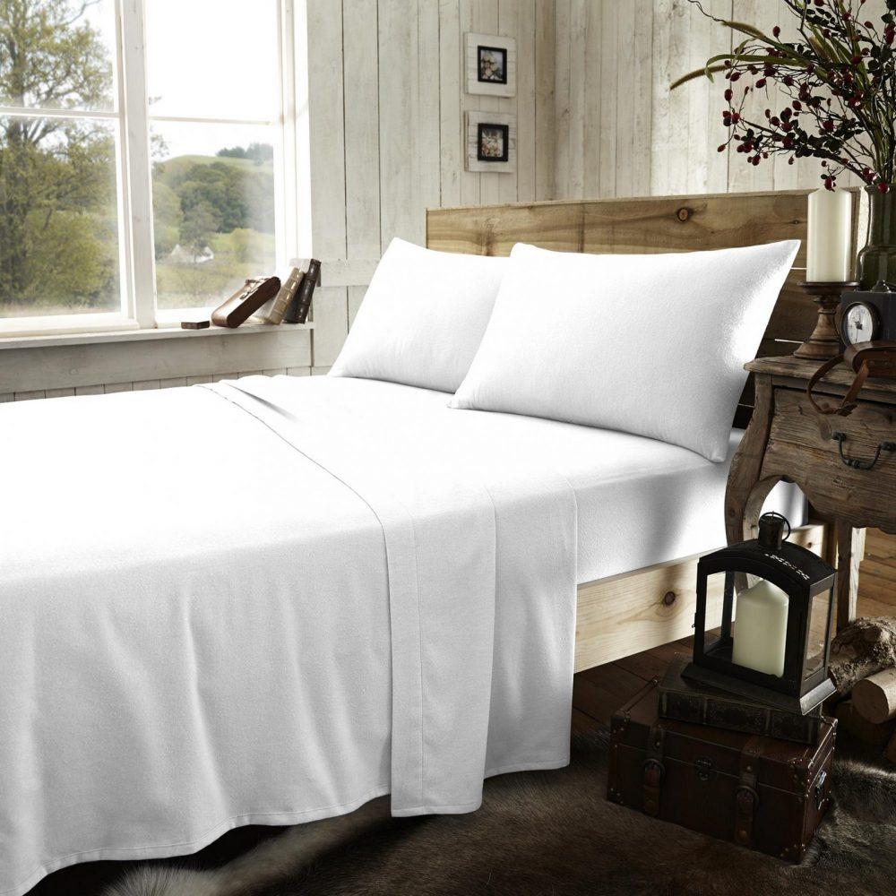 11133742 flannel plain flat sheet double white new 1 2
