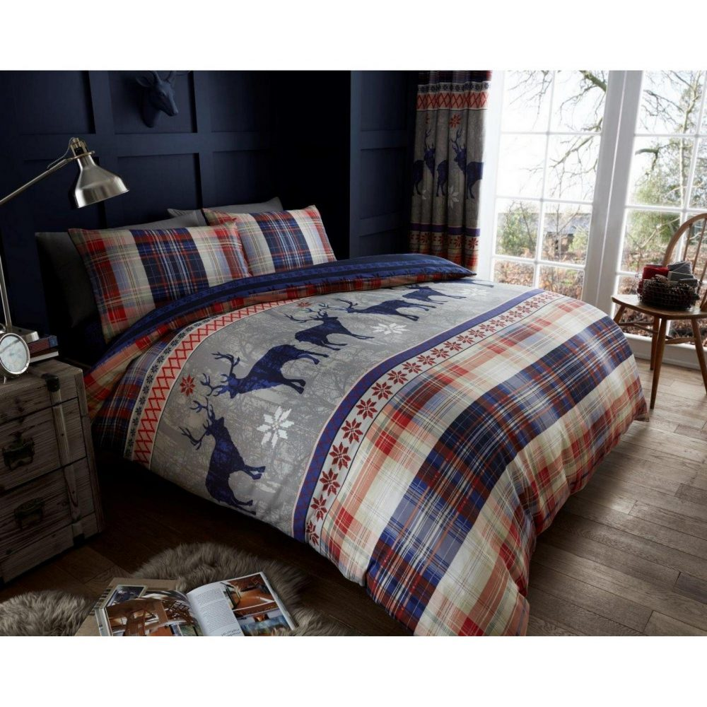11134138 printed heritage stag duvet set double navy 1 1