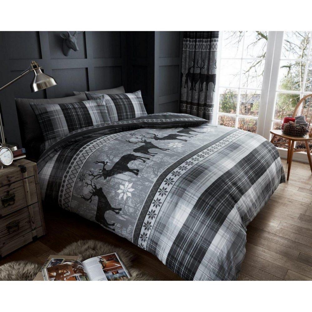11134169 printed heritage stag duvet set double grey 1 2