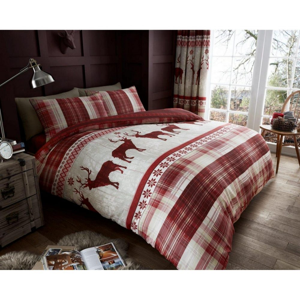 11134190 printed heritage stag duvet set double red 1 1