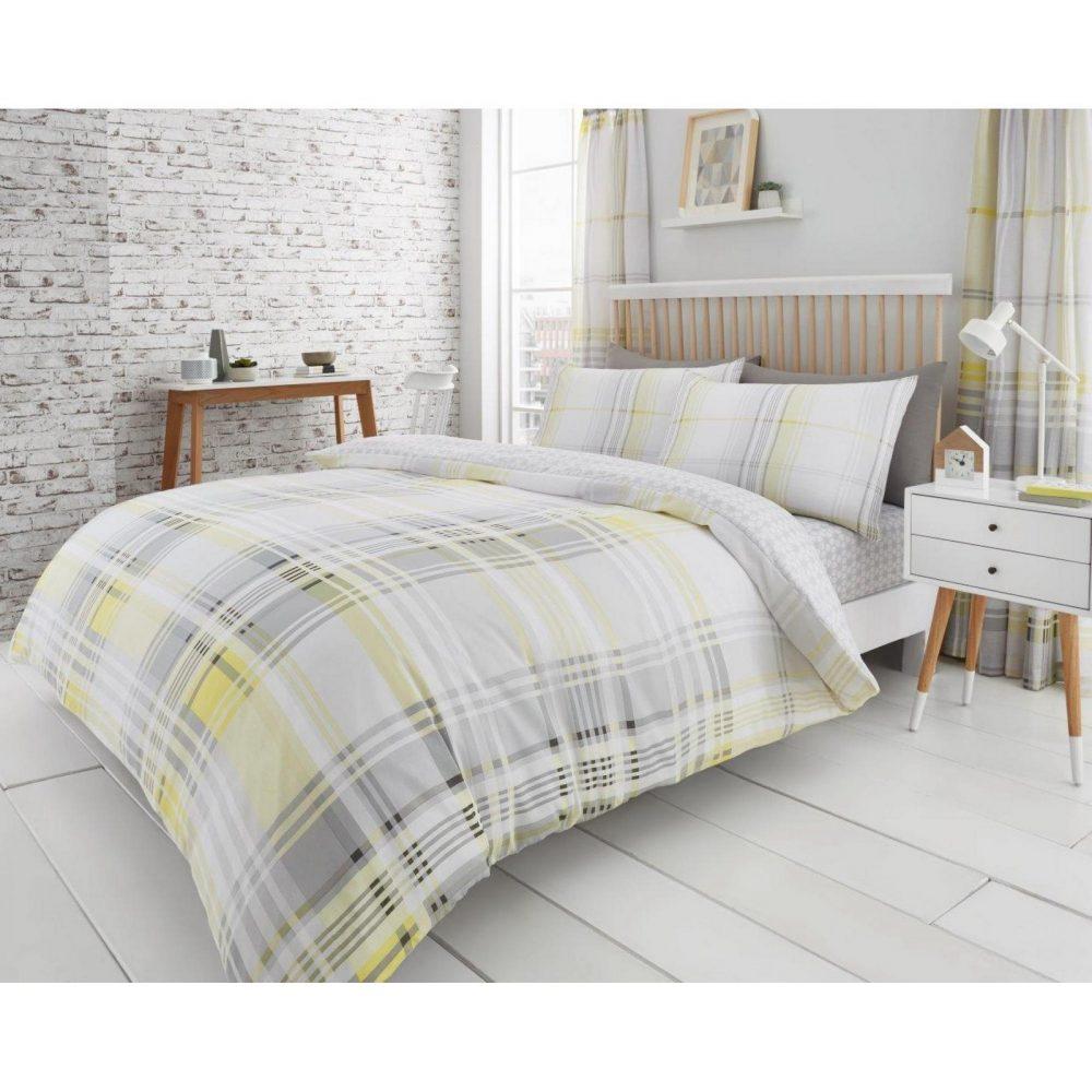 11134626 printed duvet set jackson check double yellow grey 1 1