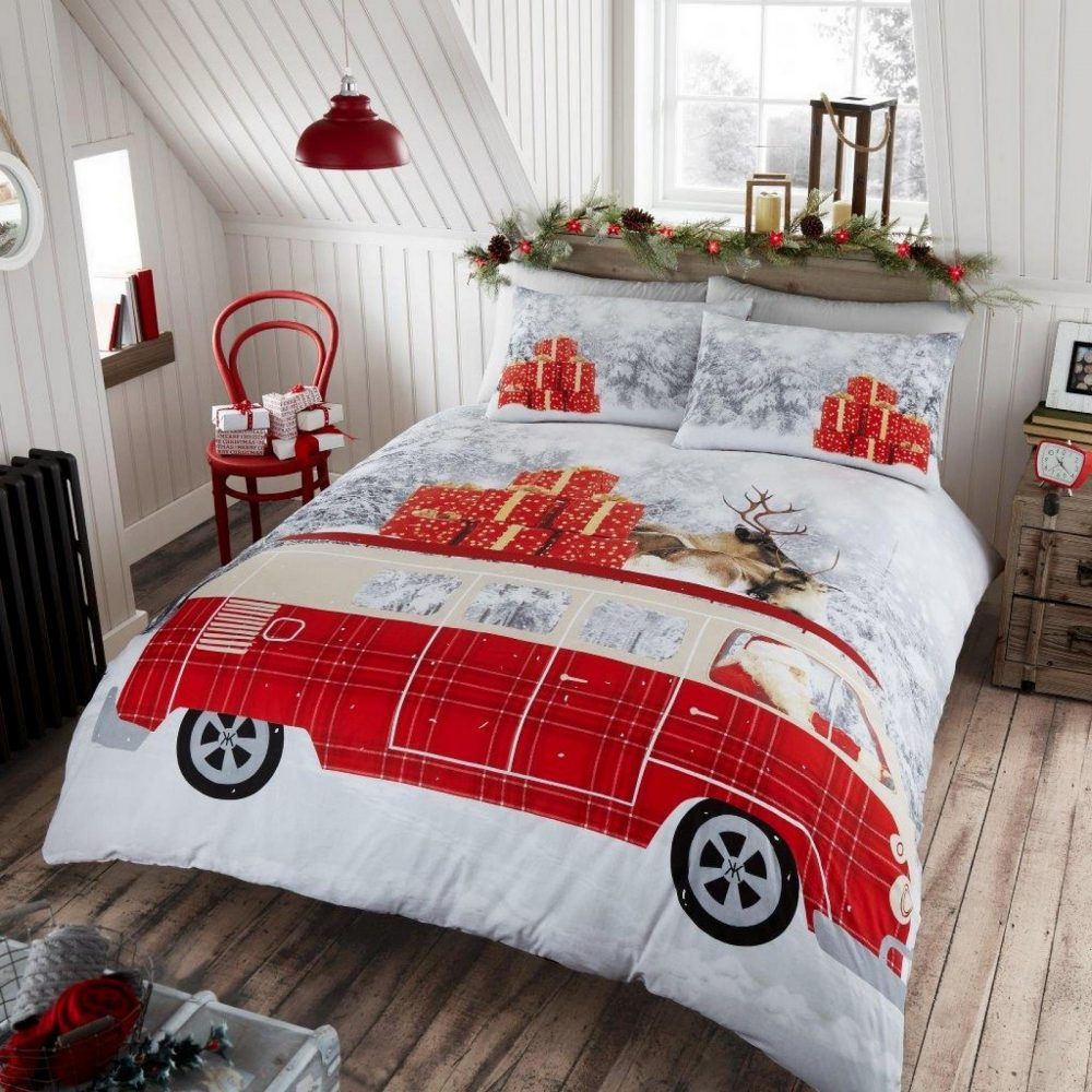 11135456 xmas santas campervan double duvet set 1 2