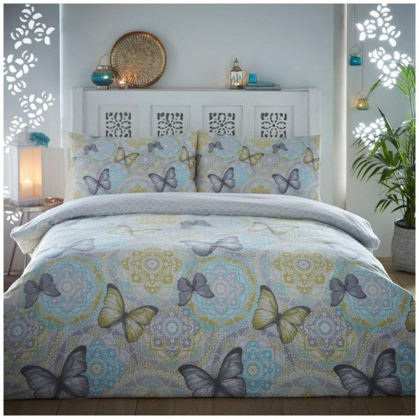 11135814 flannel boho butterfly duvet set double grey 1 2