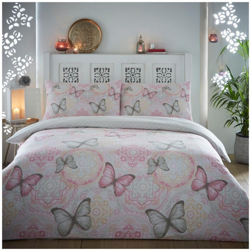 11135838 flannel boho butterfly duvet set double pink 1 3