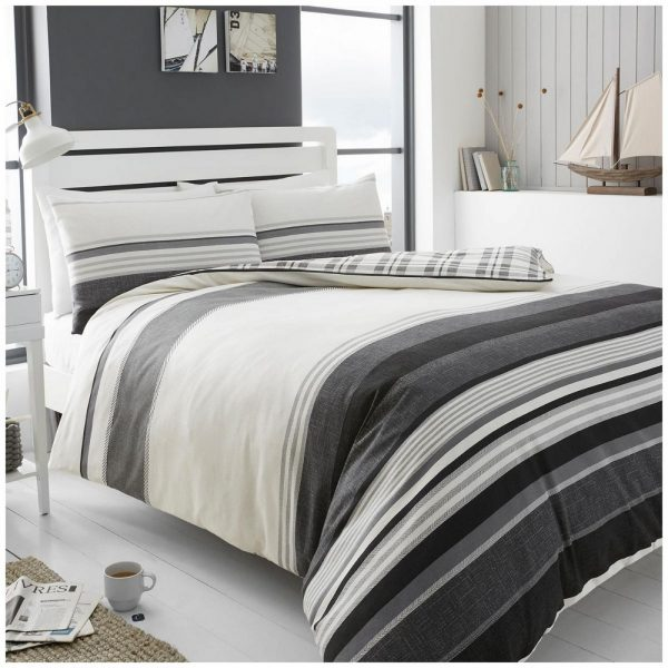 11135999 flannel duvet herringbone stripe double grey 1 2