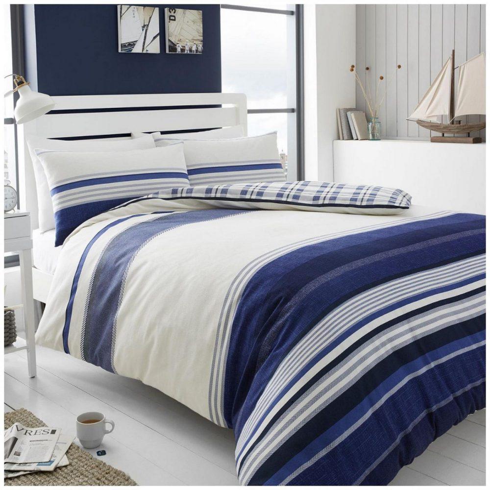 11136019 flannel duvet herringbone stripe double navy 1 3