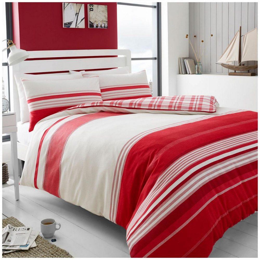 11136033 flannel duvet herringbone stripe double red 1 3