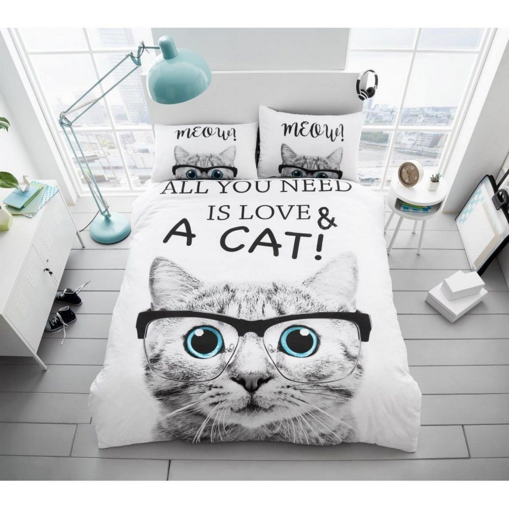 11136125 signature panel duvet set double all you need is love cat 1 2