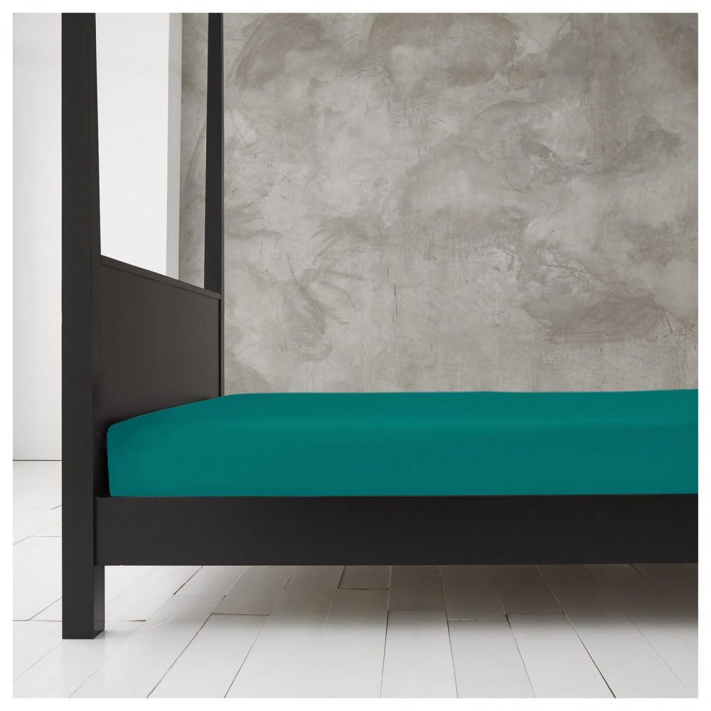 11143352 new diamond fitted sheet 4ft deep teal 1 1