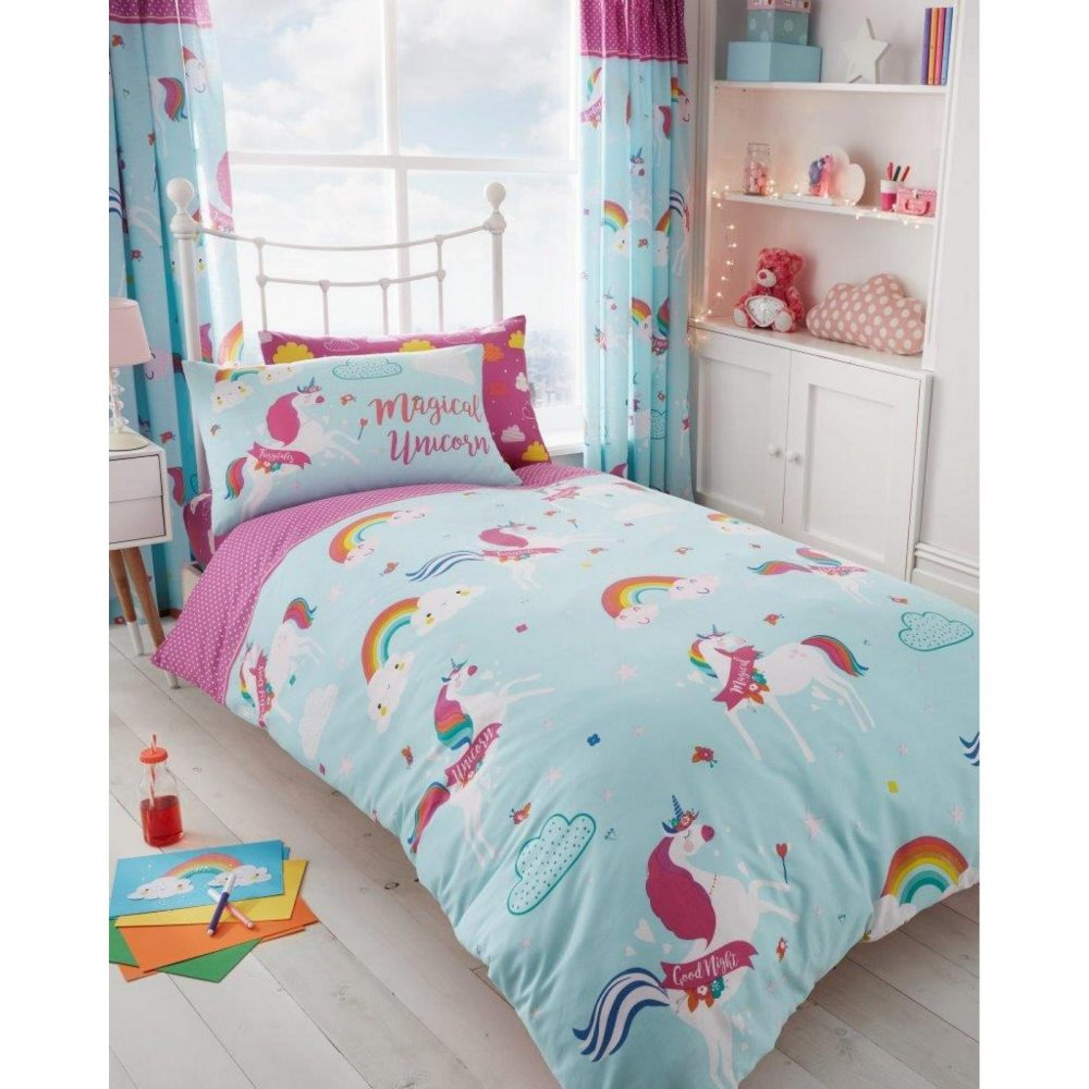 11147237 kids rotary duvet set single unicorn fairy tale 7237 1 1