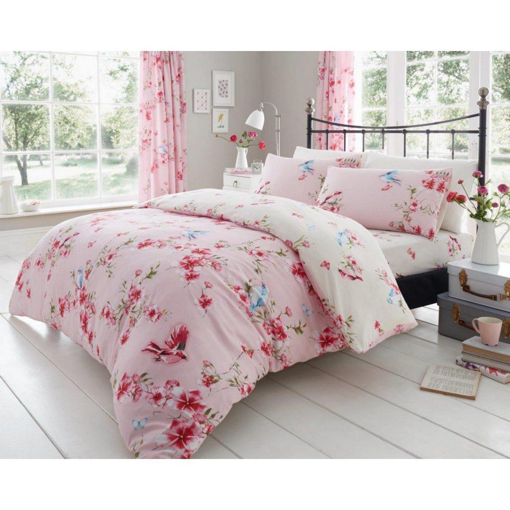 11147558 printed duvet set birdie blossom double pink 1 1