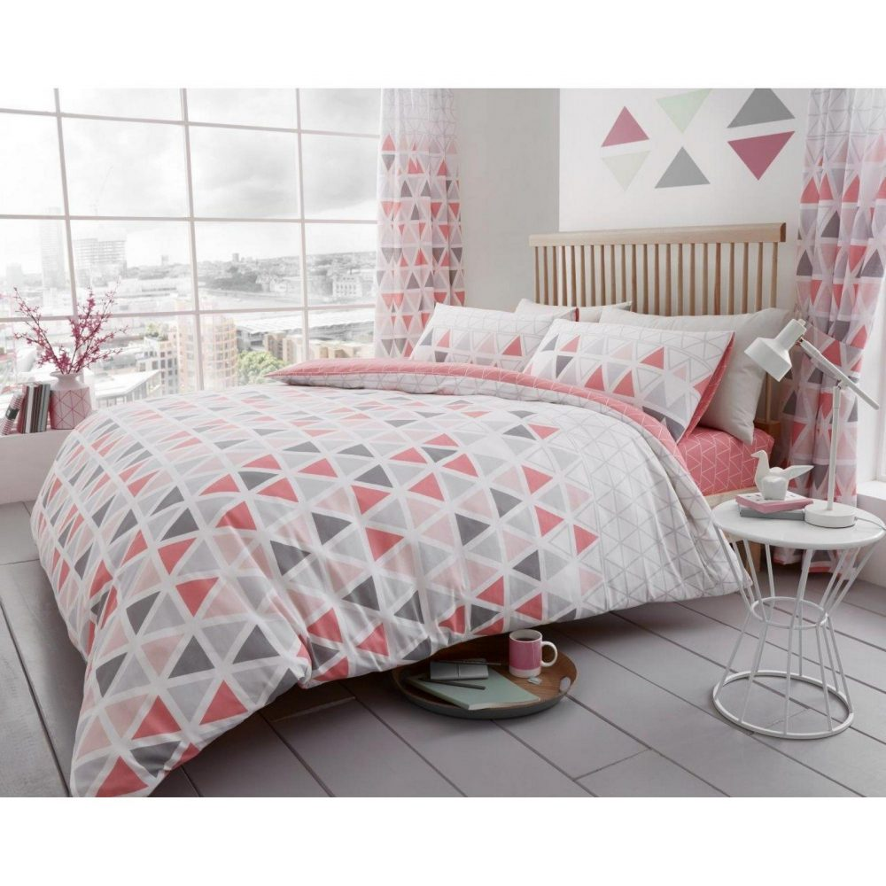 11147671 printed duvet set geo triangle double pink 1 1