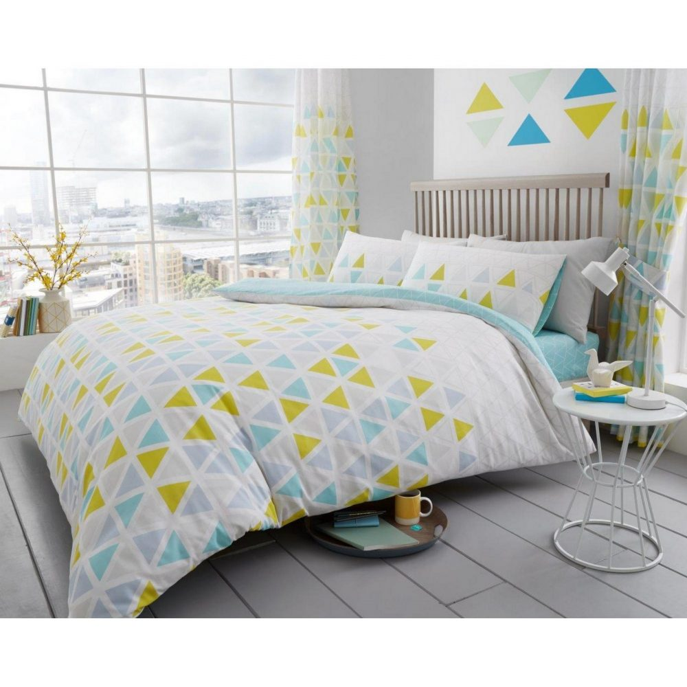 11147718 printed duvet set geo triangle double teal 1 1