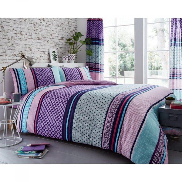 11149538 printed duvet set charter stripe double berry 1 2