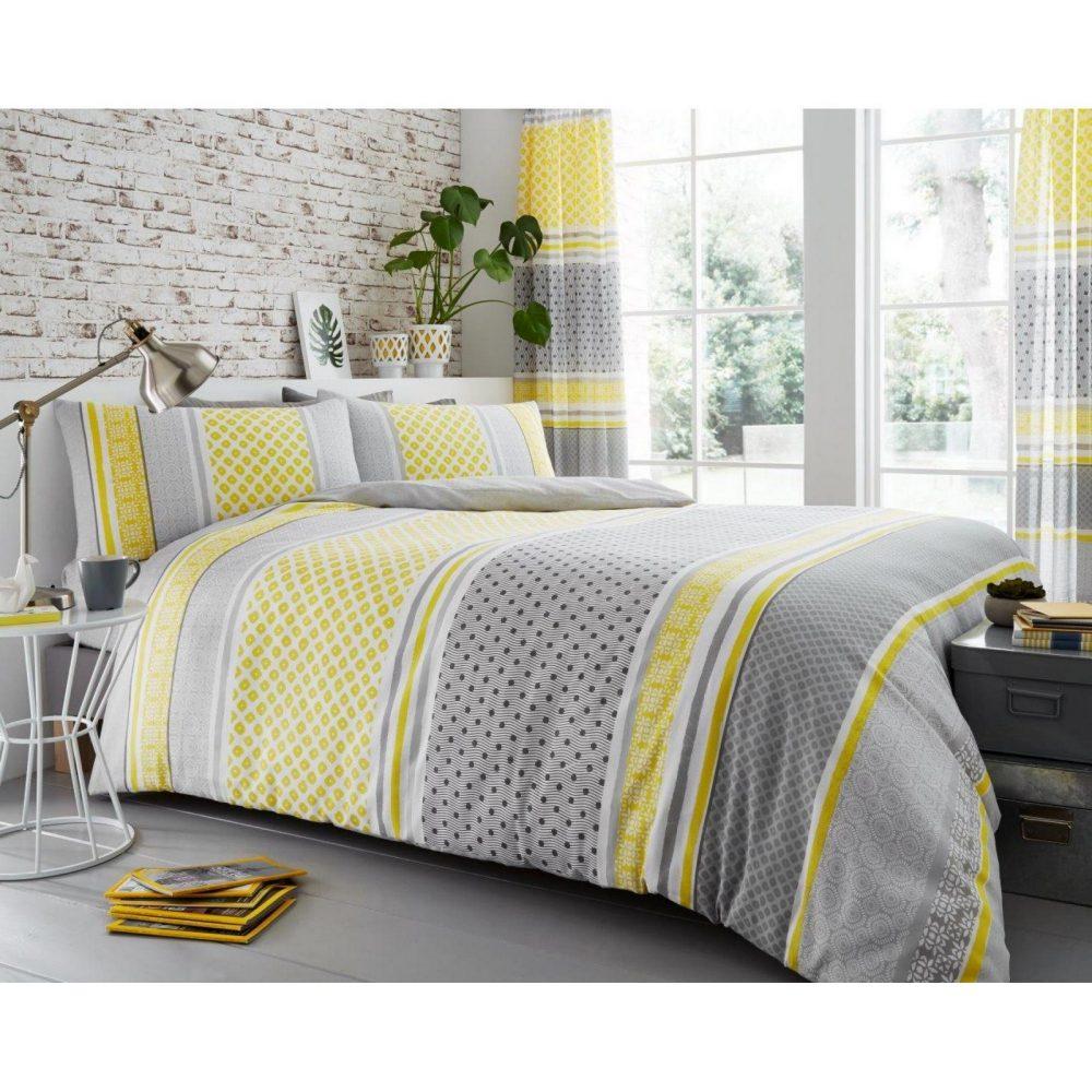 11149576 printed duvet set charter stripe double mustard 1 1