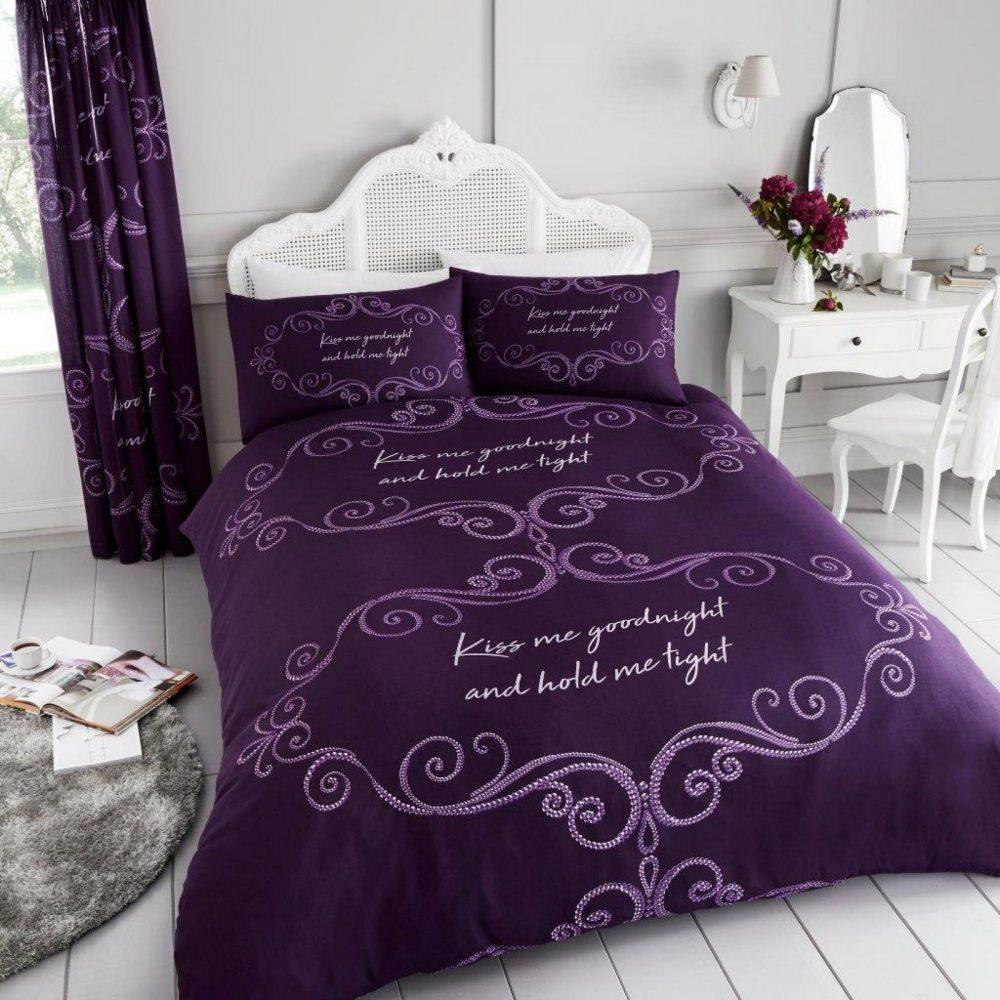 11150619 printed duvet set good night double purple 1 1