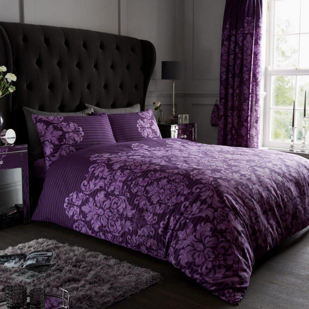 11152873 printed duvet set empire damask double purple 1 1