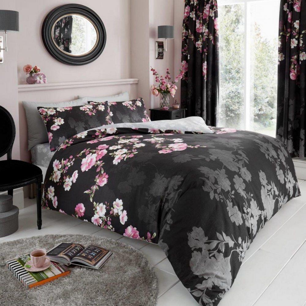 11153368 printed duvet set roseanne double black 1 2