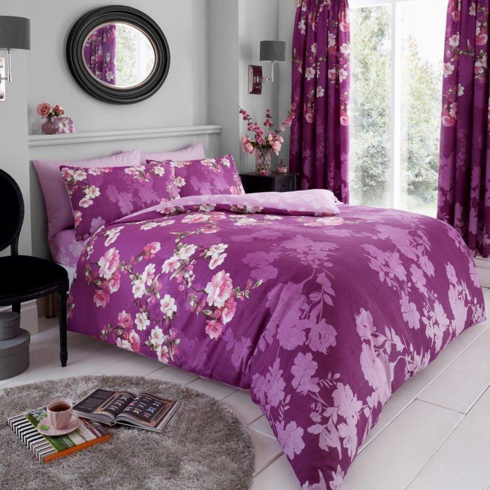 11153504 printed duvet set roseanne double purple 1 1