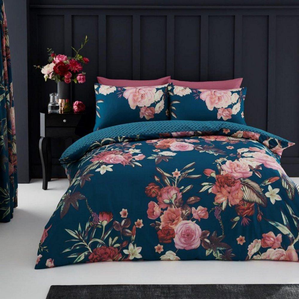11153788 printed duvet set flora double teal 1 1